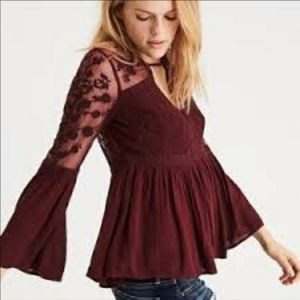 Sexy Lace Bell Sleeve flowy Blouse